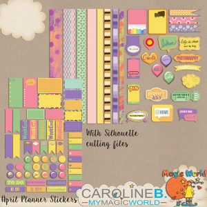 April Planner 80+ Stickers A4 Sheets / Feuilles de + de 80 stickers